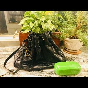 Christian Dior Black Leather Tote Bag